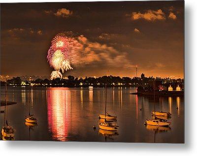 New Year's Fireworks At Sea World Metal Print