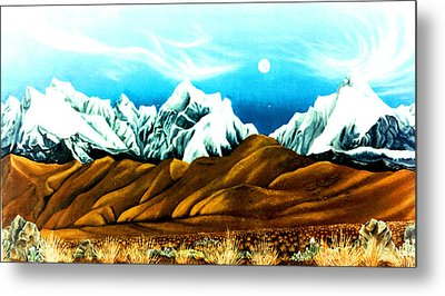 New Years Moonrise Qver Cojata Peru Bolivian Frontier Metal Print by Anastasia Savage Ealy