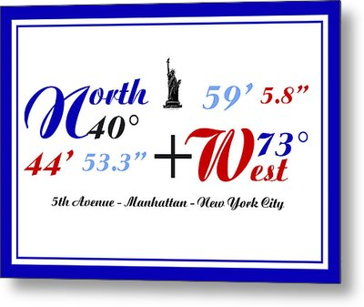 New York City Coordinates Metal Print