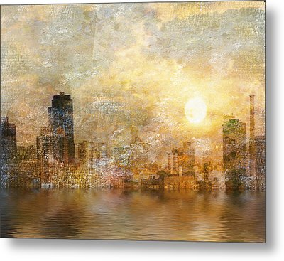 New York River Sunrise Metal Print
