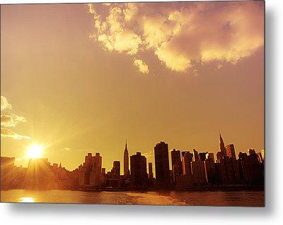 New York Sunset Skyline Metal Print by Vivienne Gucwa