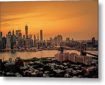 New York Sunset - Skylines Of Manhattan And Brooklyn Metal Print by Vivienne Gucwa