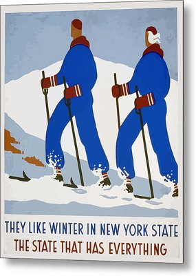 Metal Print featuring the painting New York Vintage Skiing by American Classic Art