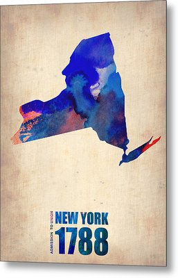 New York Watercolor Map Metal Print by Naxart Studio