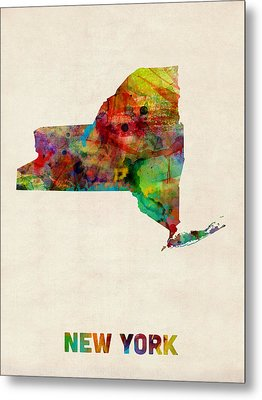 New York Watercolor Map Metal Print
