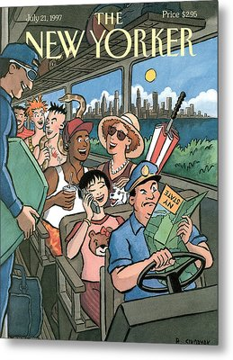 New Yorker Characters Board A City Bus Metal Print