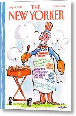 New Yorker July 4th, 1988 Metal Print by Lee Lorenz
