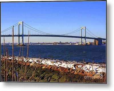 New York's Throgs Neck Bridge Metal Print by Dora Sofia Caputo Photographic Art and Design