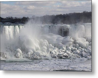 Niagara Falls Awesome Ice Buildup - American Falls New York State Usa Metal Print by Georgia Mizuleva
