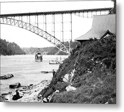 Metal Print featuring the photograph Niagara Falls Ferry Boat Vintage Photograph 1904 by A Gurmankin