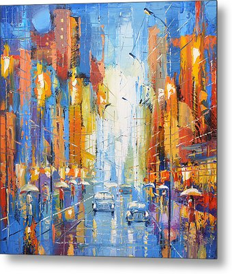 Metal Print featuring the painting Night Boulevard by Dmitry Spiros
