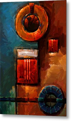 Night Engine - Abstract Red Gold And Blue Print Metal Print by Kanayo Ede