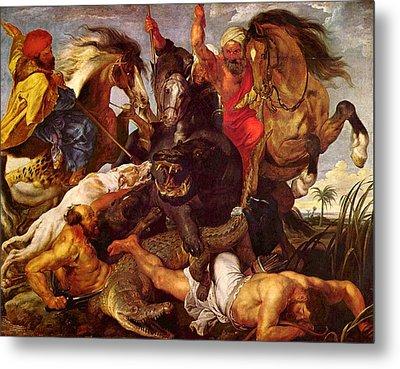 Nilpferdjagd Metal Print by Peter Paul Rubens