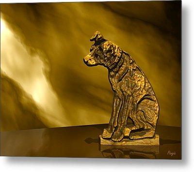 Nipper In Bronze Metal Print by John Pangia