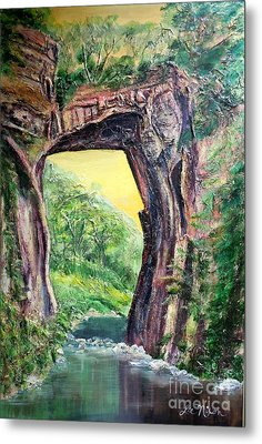 Metal Print featuring the painting Nixon's Glorious View Of Natural Bridge by Lee Nixon