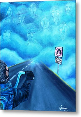 Metal Print featuring the painting No U Turn In Blue by The GYPSY And DEBBIE