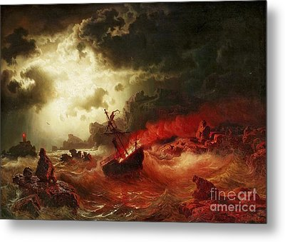 Nocturnal Marine With Burning Ship Metal Print by Pg Reproductions