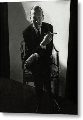 Noel Coward Smoking Metal Print by Edward Steichen