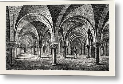 Norman Architecture Crypt Of Canterbury Cathedral Metal Print