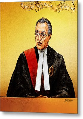 Metal Print featuring the painting Nortel Verdict - Mr. Justice Marrocco Reads Non-guilty Ruling by Alex Tavshunsky