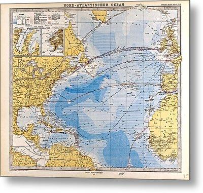 North Atlantic Ocean Map Gotha Justus Perthes 1872 Atlas Metal Print