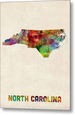 North Carolina Watercolor Map Metal Print by Michael Tompsett