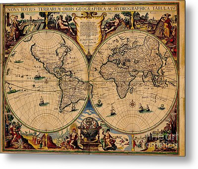 Nova Totius Terrarum Orbis Geographica Ac Hydrographica Tabula Old World Map Metal Print by Inspired Nature Photography Fine Art Photography