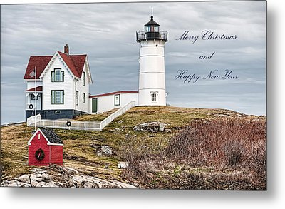Metal Print featuring the photograph Nubble Light Christmas Card by Richard Bean
