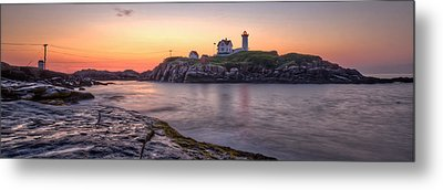 Nubble Lighthouse Before Sunrise - Panorama Metal Print