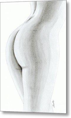 Nude Buttock Metal Print by Saki Art