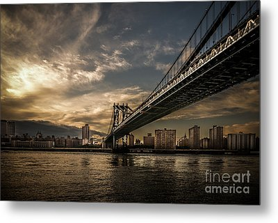 Nyc - Manhatten Bridge - Hdr- Sun Metal Print by Hannes Cmarits
