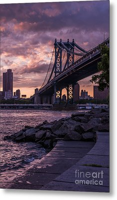 Nyc- Manhatten Bridge At Night Metal Print