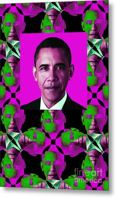 Obama Abstract Window 20130202verticalm60 Metal Print by Wingsdomain Art and Photography