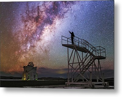 Observer Pointing At The Milky Way Metal Print