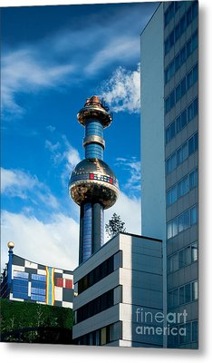 Office Building And Waste-to-energy Plant Vienna Metal Print by Stephan Pietzko