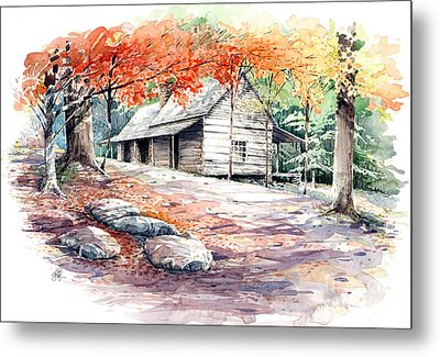 Metal Print featuring the painting Ogle Farmhouse by Bob  George