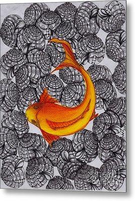 Ogon- Koi Fish Metal Print by Anca S