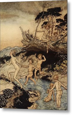 Oh What A Good Time Was That Metal Print by Arthur Rackham