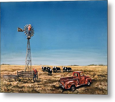 Oil Change Metal Print by Laurie Tietjen