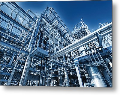 Oil Refinery And Pipelines Construction Metal Print by Christian Lagereek