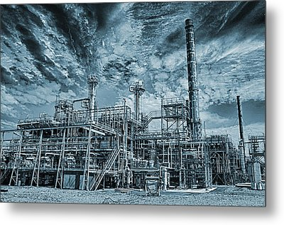 Oil Refinery In High Definition Metal Print by Christian Lagereek