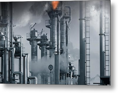 Oil Refinery Power And Energy Metal Print