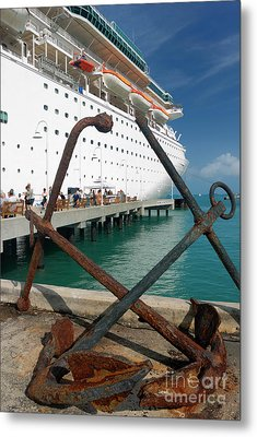 Old Anchors Near Cruise Ship Metal Print