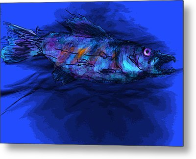 Metal Print featuring the mixed media Old Blue by Jim Vance