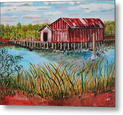 Old Boat House On Causeway Metal Print