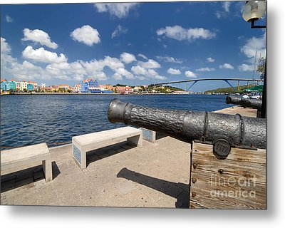 Old Cannon And Queen Juliana Bridge Curacao Metal Print by Amy Cicconi