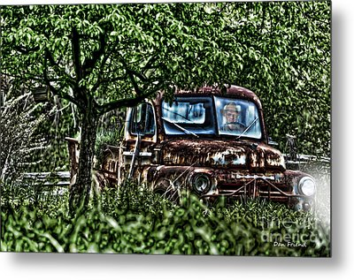 Old Car With Ghost Driver Metal Print by Dan Friend