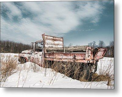 Old Dump Truck - Winter Landscape Metal Print by Gary Heller