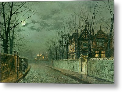 Old English House, Moonlight Metal Print by John Atkinson Grimshaw