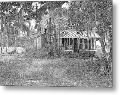 Old Florida House Pencil Metal Print by Ronald T Williams